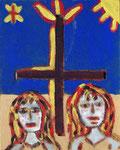 Acompagne nous, Jésus Sauveur. Fond sous verre côté rugueux. 24X30 cm.