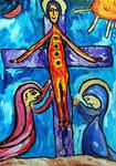 Le Christ heureux de nous voir nous aimer tant. Carton ou papier 50X70 cm.