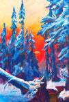 Winterlandschaft, 42 x 59 cm, Acryl auf Papier