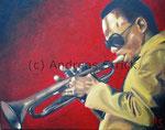 Miles Davis, 50 x 40 cm,  Februar 2015, Öl auf Leinwand