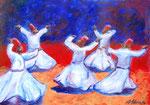 Tanzende Derwische (Acryl auf Papier, 40,5 x 30 cm)