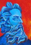 Kopf eines griechischen Mannes, 30 x 42 cm, Acryl auf Papier