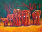 Elefanten, Acryl auf Leinwand, 160 x 120 cm