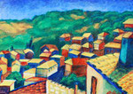 Türkisches Dorf, 40,5 x 30 cm, Acryl auf Papier