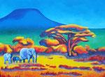 Afrikanische Savanne, Acryl auf Leinwand