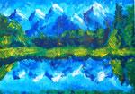 Berglandschaft, 59 x 42 cm, Acryl auf Papier