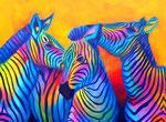 Zebras, Acryl auf Leinwand