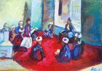 Hommage an Slevogts Bild Vorlesung in einer Moschee in Kairo (Acryl auf Papier, 40,5 x 30 cm)