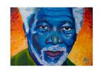 Morgan Freeman, 70 x 50 cm, März 2015, Acryl auf Leinwand