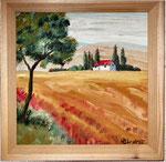 Toscanalandschaft  Öl  ca.20x20 cm