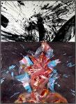 Salomos Pfau / 70 x 50 cm / Acryl-Kohle / LW / 2013