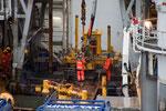 Arbeiter auf dem Expeditionsschiff