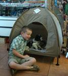 Nein, Gigolo, das Zelt brauch's du nicht, deine neue Familie hat ein Haus in dem du auch wohnen darfst