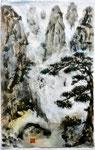 Landschaft mit Kiefern im Nebel, Chin. Tusche