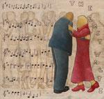 Der letzte Walzer, Acryl auf Leinwand, 80  x 80 cm, Christa Geiger