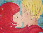 Kiss me, kiss me, kiss me, Acryl auf Leinwand, 50 x70 cm, Tine Ostheimer