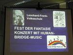 Begrüßungstafel am Monitor der Leonhard-Frank-Schule