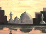Eine orientalische Stadt die sich im Wasser spiegelt