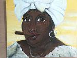 Gemälde von Mirjam Eres: Frau mit Zigarre