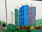 Hochhäuser zwischen Wiesen und Bäumen - eine Stadt im Grünen