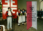 078 OK-Präsident Bärti Durrer am 38. Nationalturntag Alpnach 1985