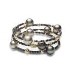 EBF-58YA: 18k yellow gold Tahitian pearl & black diamond bracelet (Black Diamond- 10.99ct | Tahitian pearls- 9-10mm | 18k beads), $2250