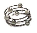 EBF-58A: 18k white gold Tahitian pearl & black diamond bracelet (Black Diamond- 10.99ct | Tahitian pearls- 9-10mm | 18k beads), $2250