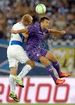 Stephane Grichting (L,GCZ) gegen Giuseppe Rossi (Fiorentina)
