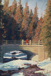 Bridge in Winter  Pastel Painting - sold