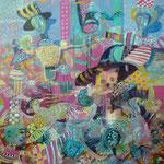 Espantapajaros y tropicos, 40cm x 40cm, acrilico sobre panel, 2012.