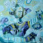 Espanta peces, 30cm x 30cm, acrilico sobre panel, 2012.