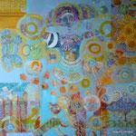 Princesa, pez y gato, 90cm x 90cm, acrilico sobre lino, 2012. Disponible.