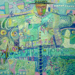 Espantapajaros y tren, 60cm x 60cm, acrilico sobre lino, 2012. coleccion privada.