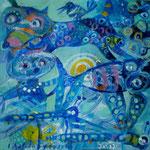Azul y buho, 20cm x 20cm, acrilico sobre panel, 2012.