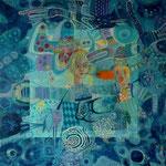 Princesa y el espantapajaros, 90cm x 90cm, acrilico sobre lino, 2012. Disponible.