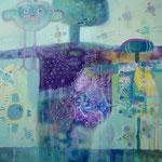 Espantapajaro violeta, 40cm x 40cm, acrilico sobre panel, 2012.