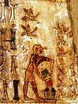 Un apicoltore versa il miele raccolto in  un otre.       (Luxor, tomba di Pabusa , 600 A.C.)    Gli egiziani dal 2600 A.C.  utilizzavano   il miele  per la preparazione di cibi,  di  bevande alcoliche,   per molti   medicam