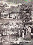 Sono rappresentate diverse modalità di cattura di sciami di api.  In alto un uomo e una donna cercano di indurre uno sciame a posarsi sul ramo  di un albero producendo rumore con lunghe bacchette e coperchi di pentole. Al centro un uomo regge in cima a un