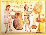 Disegno tratto da un  manoscritto  del sec XI :   un uomo depone favi colmi di miele in   un grande vaso e un altro , protetto da un leggero velo  e  dal fumo che sale da un braciere posto a   terra,  raccoglie uno sciame di api da un albero per sistemarl
