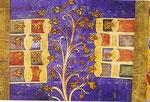 """Disegno """"in lode delle api"""" tratto da un Exultet  del sec. XII  ( rotolo di pergamena contenente canti liturgici illustrati):  al centro un albero in fiore visitato dalle api. A sinistra e a destra arnie orizzontali impilate."""