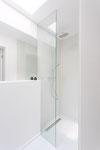 Innenausbau / Duschtrennwand und Spiegel / Gästebad