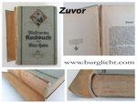 Buchreparatur - Bild 1/2 zuvor - abgetrennter Buchrücken - zerfallene Hülse - lose Seiten