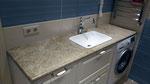 Столешница из мрамора Имперадор Лайт в ванной комнате. Мойка накладная.