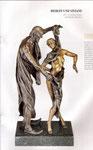 Euro 11.000, 75 cm hohe Bronze, keltische Jungfrau Viviane bezaubert den alten Weisen Merlin mit der Entschleierung ihres Körpers ...
