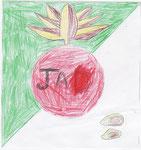 No.16 マハムドウツバサさん(小5) シャプラは日本人会がきれいになってほしいから、それからもちは日本のイメージを表した。
