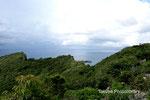 右の峰がニヌクシ嶽・真ん中がアフリ嶽・左がシチャラ嶽。シヌクシとアフリの間に見えるのが辺戸岬