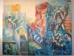 """""""BALANCE ZWISCHEN AUFSCHWUNG UND ABSTURZ"""", ACRYL, 2,20mx 1,90m, 2008"""
