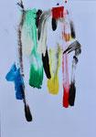 """""""Blaue Frau mit bunten Haaren"""", 42x30, Acryl"""