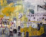 Winter - Ruhe - Stadt, 80x100, Acryl-Mischtechnik mit Wachs+Papier, 2014