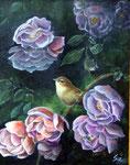 Zilpzalp in Rosen, Öl auf Leinen, 30 x 40, 2006